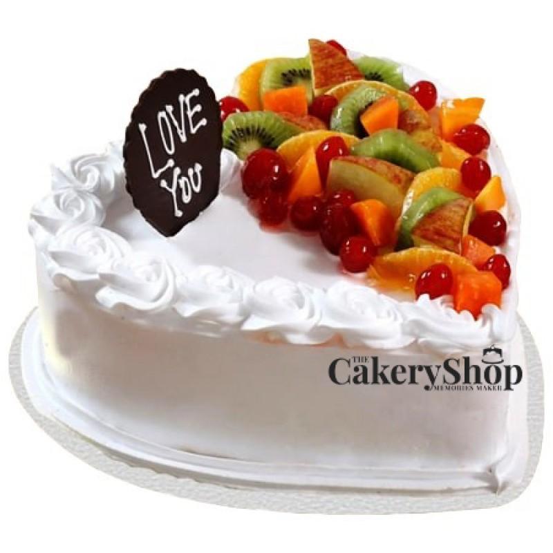 Heart Shaped Vanilla Fruit Cake